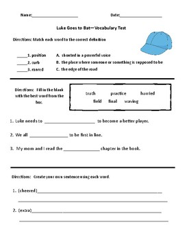 Luke Goes to Bat Vocabulary and Comprehension Test, Sequen