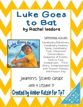 Luke at Bat Supplemental Activities 2nd Grade Journeys Uni