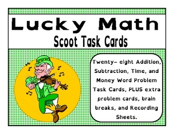Lucky Math Task Cards - Addition Subtraction Time & Money - St. Patrick's Day