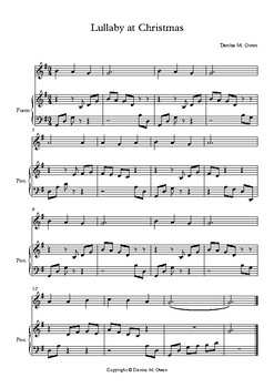 Lullaby at Christmas for beginning recorder and piano