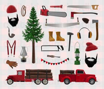 Lumberjack Clipart - Logger Truck and Woodland Lumberman Digital Graphics