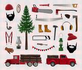 Lumberjack Clipart - Logger Truck and Woodland Lumberman D