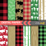Lumberjack Digital Paper, Buffalo Plaid Backgrounds, Patterns, Moose, Forest