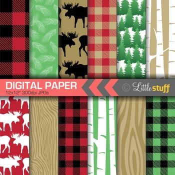 Lumberjack Digital Paper, Buffalo Plaid Backgrounds, Patte