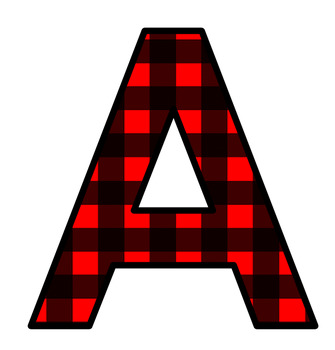 Lumberjack Red Plaid Letters Clip Art