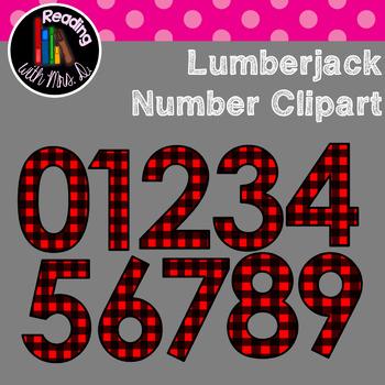 Lumberjack Red Plaid Numbers Clip Art