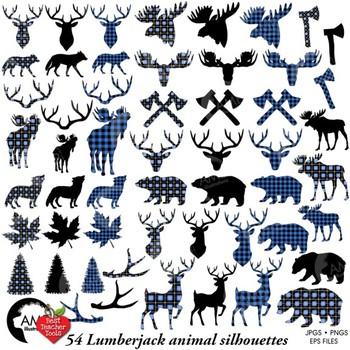 Lumberjack clipart, Blue Buffalo plaid clipart, Animal Silhouettes, AMB-2359