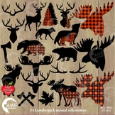 Lumberjack clipart, Buffalo plaid clipart, 54 Animal Silhouettes, Deer, AMB-2315