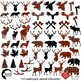 Lumberjack clipart, Buffalo plaid clipart, 54 Animal Silhouettes, Deer, AMB-2315