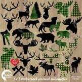Lumberjack clipart, Green Buffalo plaid clipart, Animal Silhouettes, AMB-2360