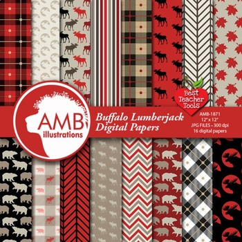 Lumberjack digital paper, rustic theme background, {Best Teacher Tools} AMB-1871