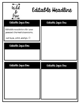 Lumberjack or Camping  Editable Teacher Newsletter Template