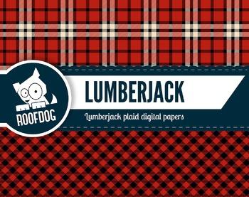 Lumberjack plaid pattern red and black digital papers