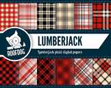 Lumberjack plaid pattern red and black digital papers
