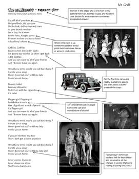 Lumineers Flapper Girl 1920s Lyrics Handout