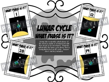 "Lunar Cycle Task Cards ""What Phase is it?"""