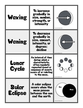 Lunar Cycle Vocabulary Definition and Picture Sort