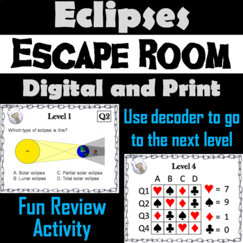 Lunar and Solar Eclipses Activity: Escape Room - Science (Astronomy)