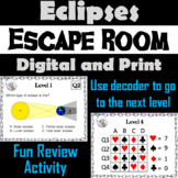 Lunar and Solar Eclipses Activity: Space Science Escape Room Astronomy