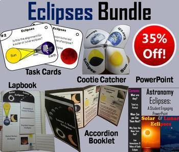 Lunar and Solar Eclipses Task Cards, PowerPoint and Activi