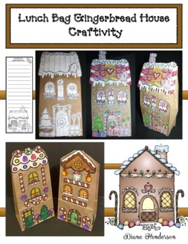 """Gingerbread Craft: Lunch Bag """"Gingerbread House"""" Craft"""