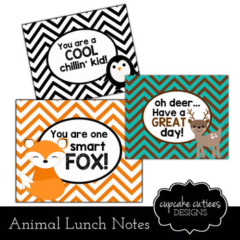 Lunch Box Notes Digital Tag Printable Animals- For Parents