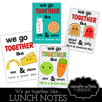 Lunch Box Notes- We go together Cute Digital Printable Sheet