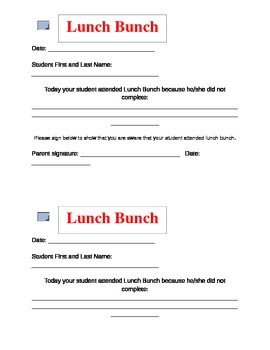 Lunch Bunch Form
