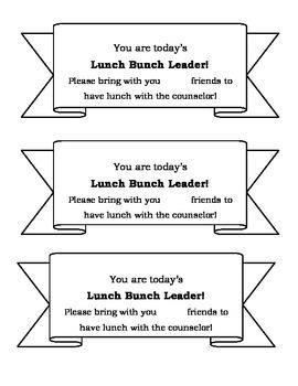 Lunch Bunch Leader Slips