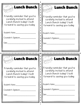 Lunch Bunch Passes-School Counseling