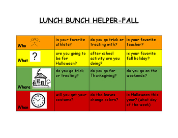 Lunch Bunch Placemat-Conversation help (fall themed)