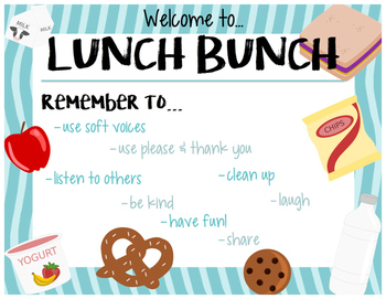 Lunch Bunch Welcome and Rules Sign