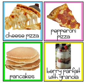 Lunch Cards in English and Spanish with pictures!  Editable!