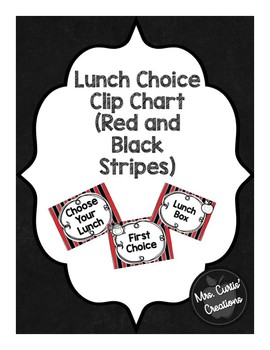 Lunch Choice Clip Chart (Red and Black Stripes)