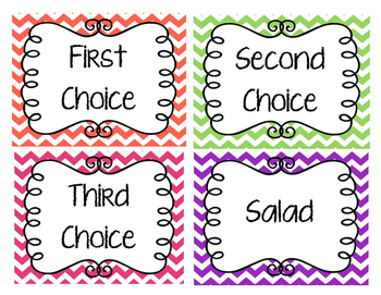 Lunch Choice Labels