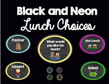 Neon Lunch Choice Labels (Editable)
