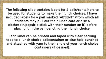 Lunch Choice Pail Labels - Burlap