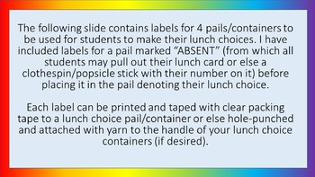Lunch Choice Pail Labels - Noah's Rainbow