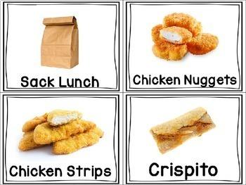 Lunch Choice Photo Cards Editable