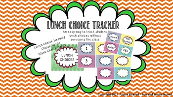 {EDITABLE} Lunch Choice Tracker- Chevron Style *FREEBIE*