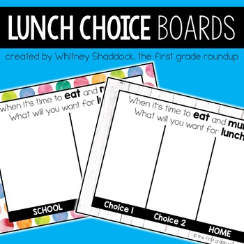 Lunch Choices Board for Interactive WhiteBoards
