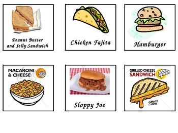 Lunch Choice's Made Easy (picture cards & names)