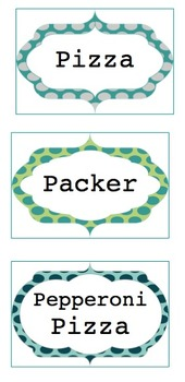 Lunch Choices - Polka Dot - Greens & Blues with Fancy Frames