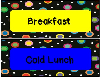 Colored Polka Dots on Black Lunch Count