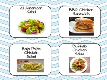 Blue Chevron Lunch Count Display Chart