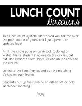 Lunch Count Materials (Tens Frames)