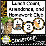 Lunch Count, Number Cards and Homework Club, Jungle Theme or Safari Theme