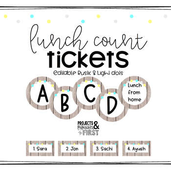 Lunch Count Pack Rustic Light Dots
