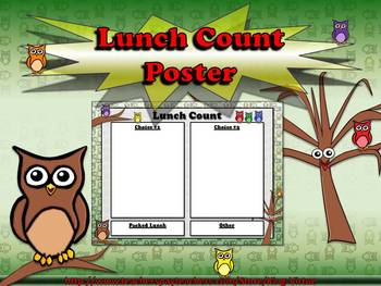 Lunch Count Poster for Students - Owls Theme - King Virtue