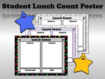 Lunch Count Poster for Students - Superstars Theme - King Virtue